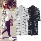 NEW LADIES CHECK BOYFRIEND COAT WOMEN CELEB DUSTER JACKET PONTE LOOK LONG BLAZER