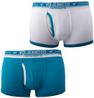 Voi Jeans 2 Pack Mens Boxers Trunks Aqua/White