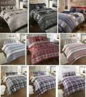100% BRUSHED COTTON REVERSIBLE FLANNELETTE THERMAL DUVET QUILT COVER BEDDING SET