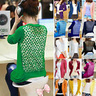 Womens Ladies Candy Color Lace Hollow Knitted Coat Sweater Cardigan Tops Shirt