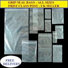 GRIP SEAL BAGS POLYTHENE CLEAR BAGS * ALL SIZES AVAILABLE WITH FREE DELIVERY **