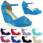WOMENS LADIES MID HIGH HEELS PLATFORM WEDGE PEEP TOE STRAPPY SUMMER SANDALS SIZE