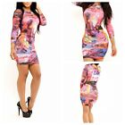 Women fashion Long Sleeve Multi-Color Graffiti Bodcon Party Evening Club Dress