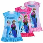 Girls Frozen Queen Elsa Princess Anna Pajamas Dress Nightgown Sleepwear Pjs 3-8
