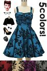 50s Style AUTUMN FLORAL BOUQUET Bombshell PINUP Full Skirt Sun Dress - 5 Colors!