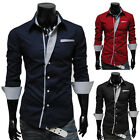 2014 Stylish Fashion Men's Slim Stand Collar Shirt Casual Shirts Long Sleeve Tee
