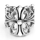 1x Stainless Steel Fleur-De-Lis Lily Cross Flower Wrap Ring Mens Womens US8-13