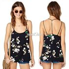 Sleeveless Backless Floral Chiffon Shirt Casual Blouse Vest Tank Top Cami S0BZ