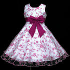 140818w456 UkW Hotpink Halloween White Party Birthday Flower Girls Dress 2,3-12y