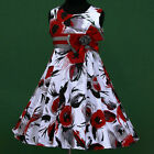 140818w025 UkW White Red Grey Halloween Birthday Party Flower Girls Dress 3-13y