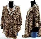 CharlesElie94 BENEDICTE Women's Leopard Print Beige Knitted Poncho Cape AU 10-20