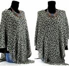 CharlesElie94 BENEDICTE Women's Leopard Print Grey Knitted Poncho Cape UK 8-18