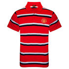 Manchester United FC Official Football Gift Mens Striped Polo Shirt