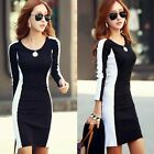 White Black Color Blocking Hip-wrapped Womens Mini Dress Stretch Bodycon Casual