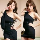 One Shoulder Drapes Embellished Hip-wrapped Womens Cocktail Party Mini Dresses