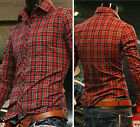 Men's Casual Tops Slim Fit Shirts Long Sleeve Grids Casual Shirt 4 Size S M L XL