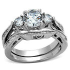 $ SALE $ Stainless Steel 1.55Ct AAA Cz Engagement Bridal Wedding Band Ring Set