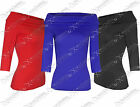 NEW WOMENS LADIES 3/4 SLEEVE BARDOT LOOK TOP BODYCON STRETCH OFF SHOULDER TOPS