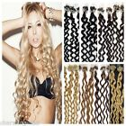 20'' Easy Loop Micro Ring Bead Tipped Remy Human Hair Extensions Curly 100S 50G