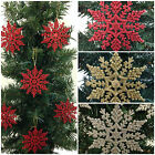 6 x Glitter Snowflake Hanging Christmas Decorations *Ideal For Xmas Trees*