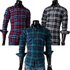Stylish Mens Slim Fit Checked Long Sleeve T Shirt Plaid Grid Casual Dress Shirts
