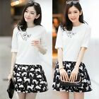New Twinset Crew Neck Half Sleeve Women T-shirt Top Tee Cartoon Cat Mini Skirt
