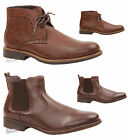 MENS CASUAL SLIP ON LACE OFFICE WORK SMART CHUKKA CHELSEA ANKLE BROWN BOOTS SIZE