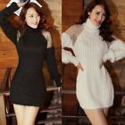 Fluffy Turtleneck Mesh Patchwork Womens Jumper Sweater Knitwear Outwear Stretch