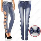 NEW LADIES BLUE WASH CUT OUT SIDES BOW JEANS WOMEN DENIM SKINNY STRETCH JEAN