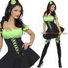 Ladies Green Witch Costume PLUS Hat - Womens Witches Halloween Fancy Dress
