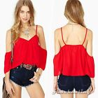 Sexy Women Off-shoulder Backless Clubwear Casual Loose Vest Top Shirt Blouse Red