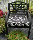 Black Ivory Damask Scroll Essence Chair Cushion Pad ~ Choose Size-In / Outdoor