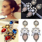 New Hot Charm Crystal Colorful Flower Women Long Statement Stud Dangle Earrings
