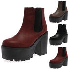 NEW LADIES CLEATED GRIP SOLE WOMENS PUNK AUTUMN HIGH HEEL ANKLE BOOTS SIZE 3-8