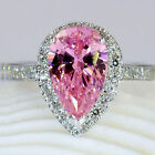 Size 5-10 Jewelry 925 silver filled Pink CZ women Heart Wedding band Ring gift