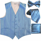 New Men's stripes Tuxedo Vest Waistcoat  necktie  Bow tie  Hankie Light blue