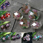 10x Czech Glass Faceted Rondelle Lampwork Loose Beads Encased Rose Flower 8x12mm