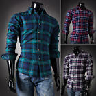 13 Style~ Stylish Men's Casual Slim Home Office Long Sleeve T-Shirt Plaid Shirts