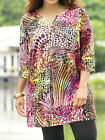 ULLA POPKEN Stretch Cotton Notch Neck Animal Print Tunic Top Size 12/14 to 24/26