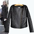 Z393 Celebrity Girl's Woolen PU Leather Jacket Slim Coat Tops Quilting Stitching