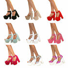 WOMENS DEMI WEDGE PLATFORM CHUNKY PEEP TOE HIGH HEEL ANKLE STRAP SHOES SANDALS