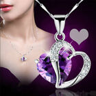Fashion women's heart crystal diamond pendant necklace silver Plated lucky