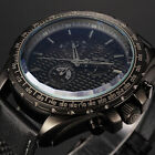 SHARK Army Men's Black Leather Chronograph Quartz Sport Military Wrist Watch