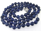 "Charm Necklace Single 10mm Round lapis Gemstone Beads Knotted 18"" 24"" 36"" 48"""
