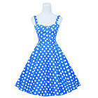 Maggie Tang 50s VTG Hepburn Rockabilly Polka Dots Pinup Party Swing Dress R-537
