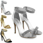 LADIES WOMENS DIAMANTE HIGH HEELS STRAPPY STILETTO SANDALS PEEP TOE PARTY SHOES