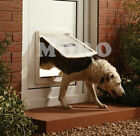 Pet dog cat door for 50mm wooden wall panel in White S-L 2-way lockable lockdoor