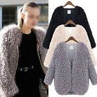 Hot Warm Women Fluffy Shaggy Faux Fur Coat Jacket Winter Outwear Cardigan Tops