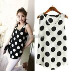 Korean Women Sleeveless Polka Dots Vest Tank Chiffon Tops Blouse T shirt New B