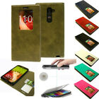 New pu-Leather Card Pocket Quick Window View Flip Wallet Case Cover PC For LG G2